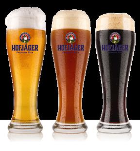 Hofjäger Bayrisch Weisse (Bavarian Wheat)<br /> Hofjäger Bayrisch Hell (Bavarian Pale)<br /> Hofjäger Bayrisch Schwarzbier (Bavarian Black)<br /> Hofjäger Non-Alcoholic (Pilsner and Wheat Beer)<br />